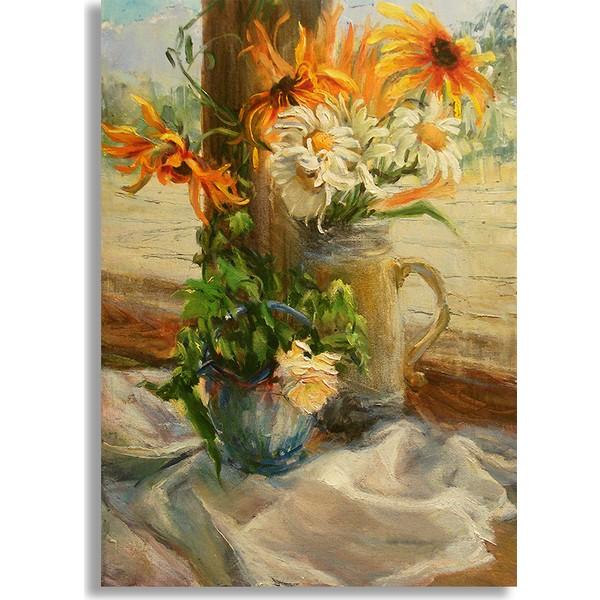 Diji Kanvas Vazoda çiçekler Yağlı Boya Kanvas Tablo 100 X 70 Cm