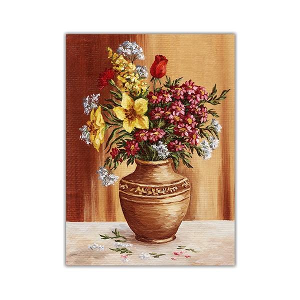 Diji Kanvas Yağlı Boya Vazo çiçekleri Kanvas Tablo 100 X 70 Cm