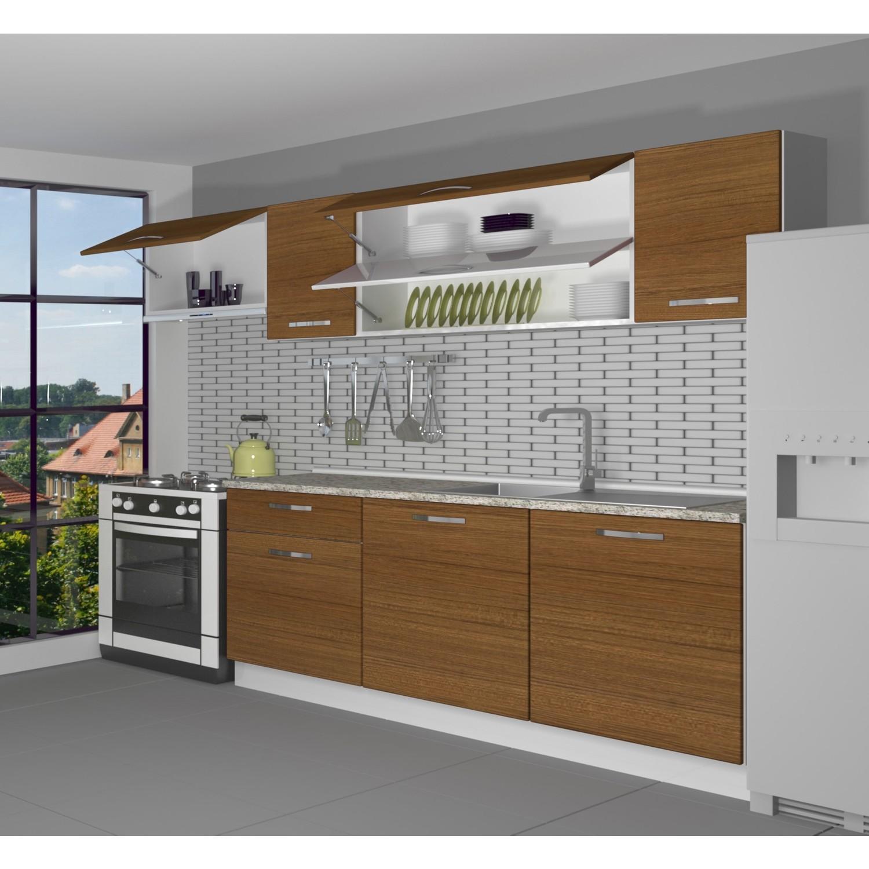 decoraktiv hazir mutfak dolabi ekol 240 cm ceviz tezgah dahil