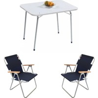 Bofigo Katlanır Masa 60 x 80 cm + 2 Adet Katlanır Sandalye -Lacivert