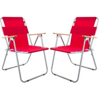 Bofigo 2 Adet Katlanır Sandalye Kamp Sandalyesi Balkon Sandalyesi Katlanabilir Piknik Ve Bahçe Sandalyesi Kırmızı