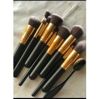 Simple Pro 10 Parça Siyah-Gold Makyaj Fırça Seti