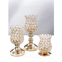 Mukko Home 3'Lü Kristal Taşlı Şamdan Mumluk Altın