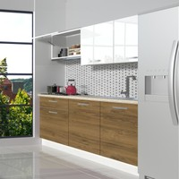 Decoraktiv Hazır Mutfak Dolabı Naturel 160 cm Pera & Parlak Beyaz -Tezgah Dahil