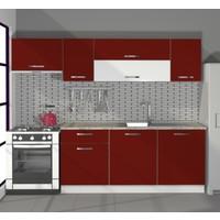 Decoraktiv Hazır Mutfak Dolabı Ekol 240 cm Bordo -Tezgah Dahil