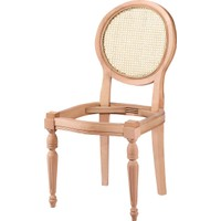 Obuts Home 4568 Hasırlı Yuvarlak Sandalye Cilasız Ahşap Ham