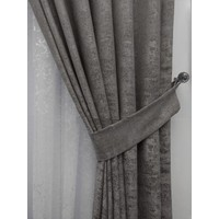 Caserta Home Bulut Desen Antrasit Sık Pileli Jakar Tek Kanat Fon Perde - Ezo 12801