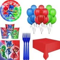 Balonpark Pijamaskeliler 16 Kişilik Doğum Günü Malzemesi Parti Seti Paketi