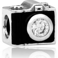 Zarbazen Gümüş Kaplama Fotoğraf Makinesi Bileklik Boncuğu