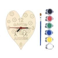 Joy Toys Ahşap Saat Boyama Seti 6lı Boyafırça Dahil Anneler Günü