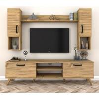 Rani A5 Duvar Raflı Kitaplıklı Tv Ünitesi Duvara Monte Dolaplı Modern Ayaklı Tv Sehpası Ceviz M27