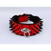 Ac Leather Köpek Boyun Tasması Extreme Zımbalı Kırmızı