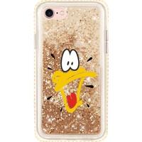 Cekuonline Apple iPhone 6S Kılıf Gold-Altın Simli Sulu Sıvılı Kenarları Taşlı Tasarım Silikon Arka Kapak - Duck Ördek Stok825