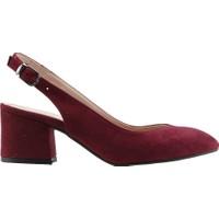 Ayakland 544-307 Günlük Babet 5 Cm Topuk Kadın Lüx Süet Sandalet Ayakkabı Bordo