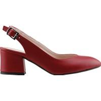 Ayakland 544-307 Günlük Babet 5 Cm Topuk Kadın Cilt Sandalet Ayakkabı Kırmızı
