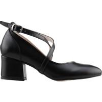 Ayakland 544-1121 Babet 5 Cm Topuk Kadın Cilt Sandalet Ayakkabı Siyah