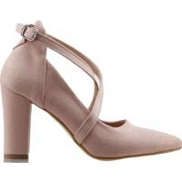 Ayakland 137029-1122 Kemerli 7 Cm Topuk Kadın Lüx Süet Sandalet Ayakkabı Pudra