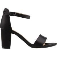 Ayakland Bsm 62 Günlük 7 Cm Topuk Kadın Saten Sandalet Ayakkabı Siyah