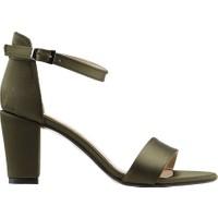 Ayakland Bsm 62 Günlük 7 Cm Topuk Kadın Saten Sandalet Ayakkabı Yeşil