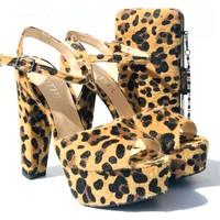 Sothe BA-1027TK Kadın Leopar Platform Topuklu Ayakkabı Çanta Takım