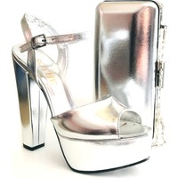 Sothe BA-1027TK Kadın Gümüş Platform Topuklu Ayakkabı Çanta Takım