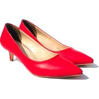 Sothe ELF-1730 Kırmızı Deri Bayan Kısa Topuklu Ayakkabı