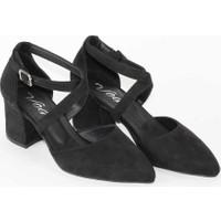 Modabuymus Siyah Süet Çapraz Bantlı Kısa Kalın Topuklu Stiletto Kadın Ayakkabı - Tulipa