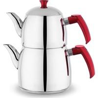 Schafer Gastro Plus Çelik 3 Parça Aile Boyu Çaydanlık Takımı Kırmızı - İndüksiyon Tabanlı