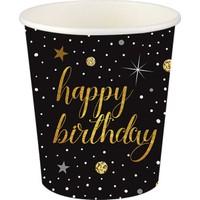 Roll-UpKağıt Bardak ışıltılı Doğum Günü 8'li Paket 8X9 Cm