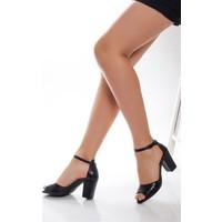 Tarçın Hakiki Deri Klasik Siyah Günlük Kadın Topuklu Ayakkabı Trc71-0037