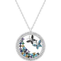 Chavin Bahar Kelebekleri Ve Çiçekler Gümüş Kolye Ds18By