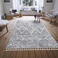 Payidar Halı Moroccan 1495A 80 x 150 cm Gri-Beyaz Saçaklı Modern Halı