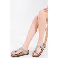 Fox Shoes Gri Kadın Terlik B777731002