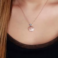 Afrodit Silver Deniz Kabuğu Tasarım Gümüş Kadın Kolye