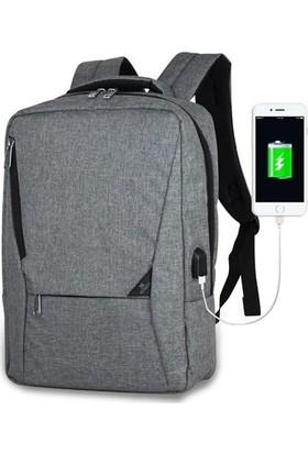 My Valice Smart Bag Active Usb Şarj Girişli Slim Notebook Sırt Çantası Gri