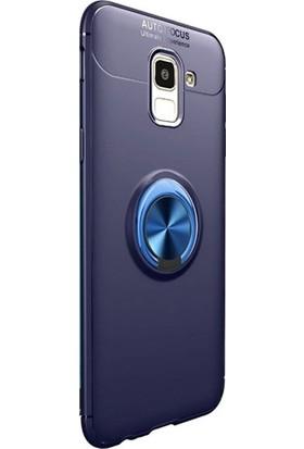 Aksesuarkolic Samsung Galaxy J8 Kılıf Ravel Yüzüklü Mıknatıslı Sert Silikon
