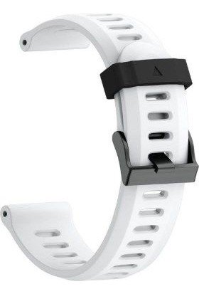 Schulzz Garmin Fenix 3 HR 26 mm Silikon Kayış Kordon - Beyaz