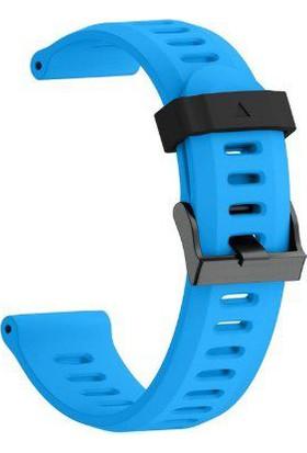 Schulzz Garmin Fenix 3 HR 26 mm Silikon Kayış Kordon - Mavi