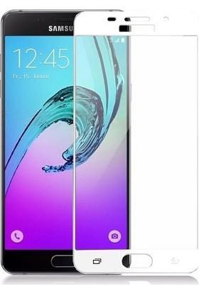 TelefonBorsası Samsung Galaxy A3 2016 3D Kavisli Temperli Cam Ekran Koruyucu Film - Beyaz