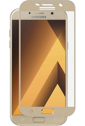 TelefonBorsası Samsung Galaxy A5 2017 Full Kapatan Cam Ekran Koruyucu Gold