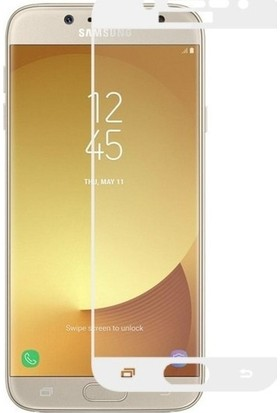 TelefonBorsası Samsung Galaxy J7 Pro Tam Kaplayan Ekran Koruyucu Cam - Beyaz