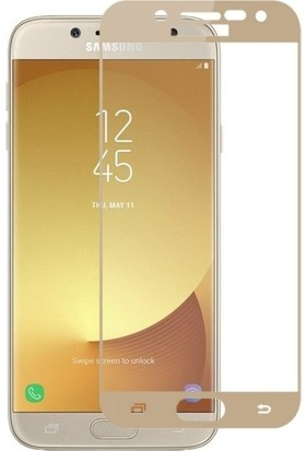 TelefonBorsası Samsung Galaxy J7 Pro Tam Kaplayan Ekran Koruyucu Cam - Gold