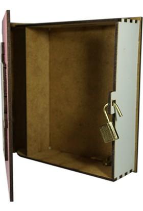 Mory Concept Ahşap Kumbara Kitap Görünümlü Kilitli Pembe