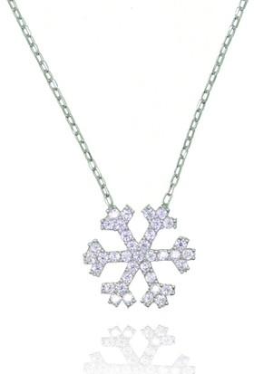 Grigümüş 925Ayar Beyaz Kar Tanesi Gümüş Kolye