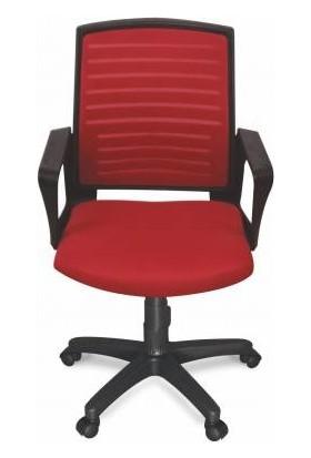 Ofis City Fileli Personel Koltuğu Sekreter Koltuğu Kırmızı