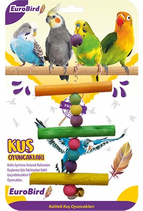 Eurobird Kuş Oyuncağı Renkli Üçlü Tahta Merdiven (ky86)