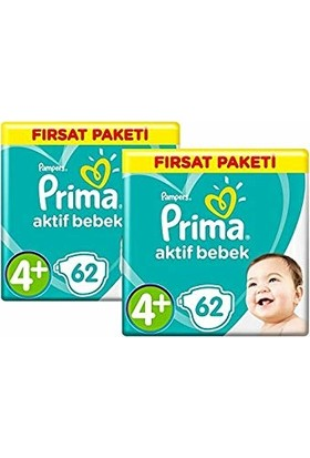 Prima Aktif Bebek 4+ Beden Maxi Plus 124 Adet Bebek Bezi