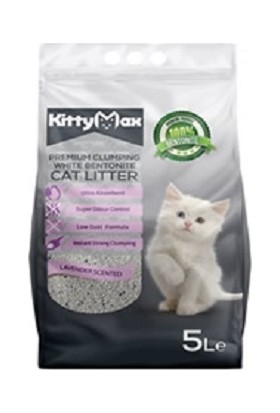KittyMax Bentonit İnce Koku Tanecikli Lavanta Kokulu Kedi Kumu 5 lt