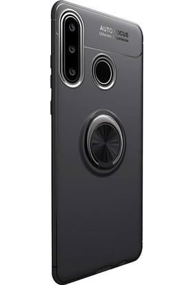 Gpack Huawei P30 Lite Kılıf Ravel Yüzüklü Mıknatıslı Silikon +Nano Glass