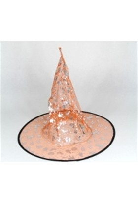 Dekorsende Cadı Şapkası Turuncu Gümüş 37 Cm